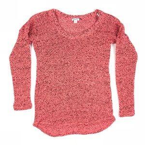 🦋 Splendid Pink/ Coral + Black Loose Knit Sweater